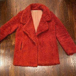 Tularosa Violet Faux Fur Teddy Coat in Rust